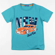 Blue Children Summer Short Sleeve T-shirt with Car Printed for 4 to 12 Years Old Boys