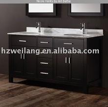 north America hot sell modern marble top wooden bathroom vanity