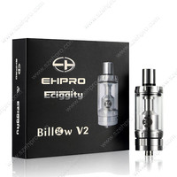 2015 newest wholesale diameter 22mm ecig glass ehpro billow v2 atomizer with stainless steel drip tip glass tank atomizer