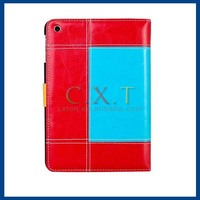 Color Contrast Faux Leather Flip Case with Stand for iPad mini (Red)