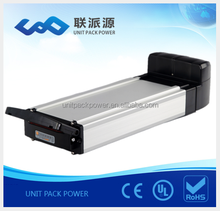 high quality lithium 36v 10ah rear rack ebike li ion battery with charger
