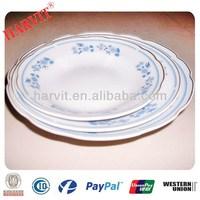 Shangdong Cheap Porcelain Cut Edge 5'' 6'' 7'' 8'' 9'' Soup Plates With 3 Flowers & Gold Rim Trim Silver Rim Yellow Line