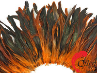 Coque plume crafts dyed orange half bronze long rooster tail strung feather for party decorations