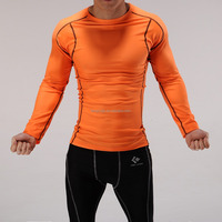 2015 Fit compression long sleeve tops, Men's fitness wear,Polyester/Spandex.High elastic gym wear.