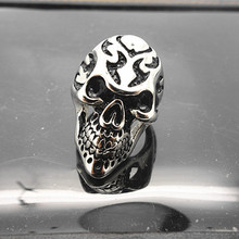 fire skull ghost ring jewellery punk stainless steel design skull ring