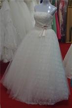 2015 hot sale new design fashion lace strapless wedding dress