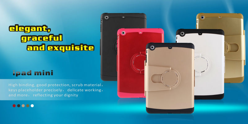 KIWISHELL latest design PC+TPU 360 degree rotatable Shockproof hybrid case for ipad mini 2