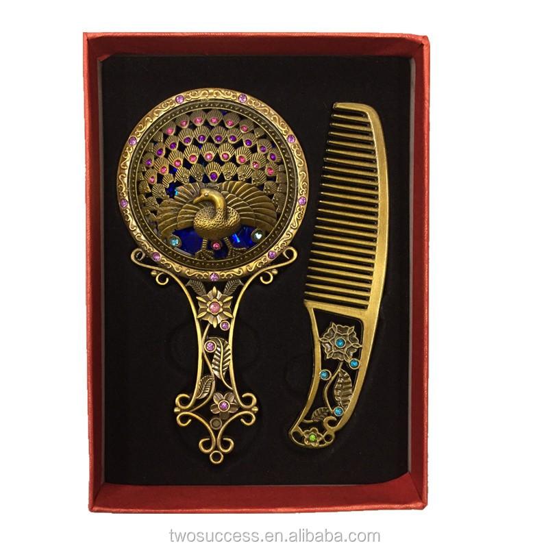 Bronze handle cosmetic Comb Mirror Set.jpg