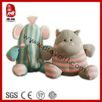 Unique knitted fabric stuffed plush elephant&hippo toy soft baby toy