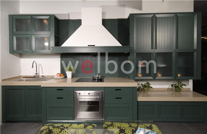 Dark green laminated plywood kitchen cabinet furniture - Dark green kitchen cabinets ...