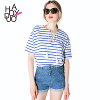 HAODUOYI 2015 Summer Blue White Strips Women T-shirts Ribbon Tied Casual Tops for Wholesale