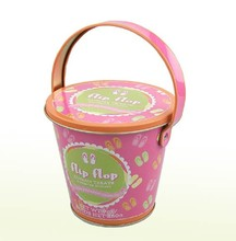 Factory wholesale Cute Printed Small Round metal Gift Tin Bucket