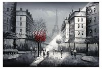 Handmade new Modern abstract impressionist black and white eiffel tower paris street scene oil painting on canvas