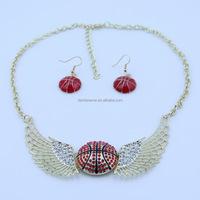 Fashion Sports Basketball Bling Crystal Pendants Necklace & Earring Sets