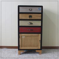 Black 1 Door Cabinet 4 drawers Antique Decor Wood Furniture