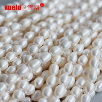 8-9mm semi-finished rice freshwater pearl necklace strand