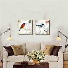 Vintage European Style Bird Digital Printing Canvas Art