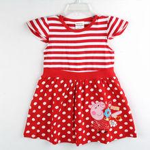 2014 nuevos de moda de verano los niños ropa de bebé desgaste peppa pig ropa niñas princesa vestidos de punto 5875