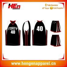 Hongen apparel 2015 Most popular breathable fashionable european sublimation balck basketball jersey