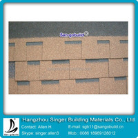 double layer fiberglass sheet asphalt roof shingle brown color for Iceland