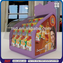 TSD-A424 milk pack display holder acrylic/soft drink lucite tabletop stand with cover/point of purchase display box