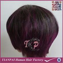 2015 new arrival mono toupee, ombre black and purple men toupee, synthetic wigs for men