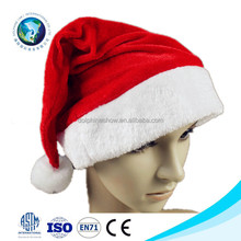 2015 Promotional cute cheap red and white soft plush christmas santa claus hat fashion christmas decoration