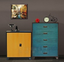 Factory Supply Wooden Tranfer Print Lateral Wide Metal File Cabinet