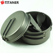 Factory Supply Two Pieces Camping Hiking Cooking Pot For Camping Titanium Cookware Backpacking