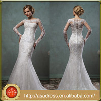 AMS44 Vintage Long Sleeve Lace Mermaid Custom Made Two Piece Import Wedding Dress with Jacket