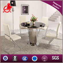 A8021 mirror stainless stell glass top round dining table set