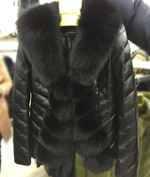 wholesale price sheep leather jacket with fox fur trim for women