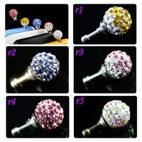 2015 popular design diamond 3.5mm Anti dust plug for samsung smartphones s4/s5/note 4 and etc (big ball design)