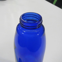 cobalt blue water glass bottle with wide mouth with metal cap