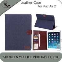 Fashion Wallet Case Card Holder For Apple iPad Air 2 Stand Case Denim Pattern Leather Case Back Cover For iPad Air 2