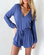 Custom design latest blue romper for woman sexy long sleeve jumpsuit