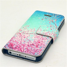 Floral Pattern PU Leather Case with Screen Protector and USB Cable and Stylus for iPhone 5/5S