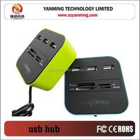 3 port usb hub with usb 2.0 card reader combo