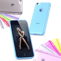 5C Super Soft Transparent Case For Apple iphone5c Ultra Slim TPU Silicone Gel Cell Phone Back Cover