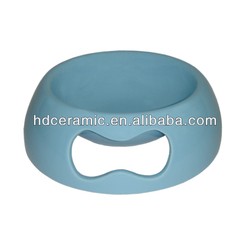 New design light blue color ceramic dog pet bowl