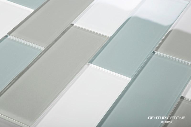 3x8 inch blauw grijs en wit crystay glazen tegels voor badkamer en keuken backsplash muur - Keuken blauw en wit ...