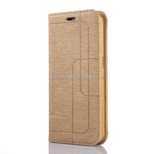 FL2386 luxury gold line geometry design magnet leather case for samsung galaxy s6 edge, for galaxy s6 edge flip leather case