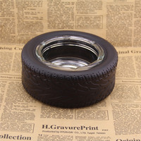 big rubber tire ashtray new body of new material to protect creative glass ashtray