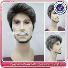 Top Beauty Fashion Brazilian Human Hair Grey Hair Old Man Wig