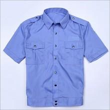 Barato hombres de azul uniforme de guardia de seguridad diseño, Algodón camisa del uniforme