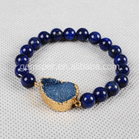 Natural crystal agate bead scalable adjustable bracelet jewelry with druzy connector jewelry,rubber band