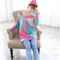 2015 new long section hit color pullover women loose geometric patterns sweater coat