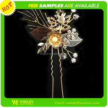 New arrival high quality flower shape crystal gold indian wedding hair accessories