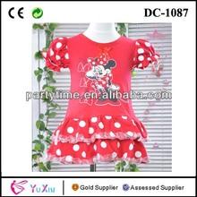 punto rojo en capas de tul de minnie mouse vestido para las niñas
