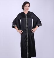 fish tail design accenting stones floral satin black dubai abaya